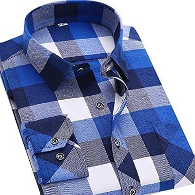 GRMO Men's Leisure Long Sleeve Plaid Slim Non-iron Button Front Shirts