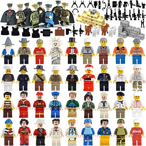 Education Community Minifigures Set of 44 Figures + Weapons set Building Bricks Community Mini People and Accessories (44FIGURES+WEAPON) by A-HA