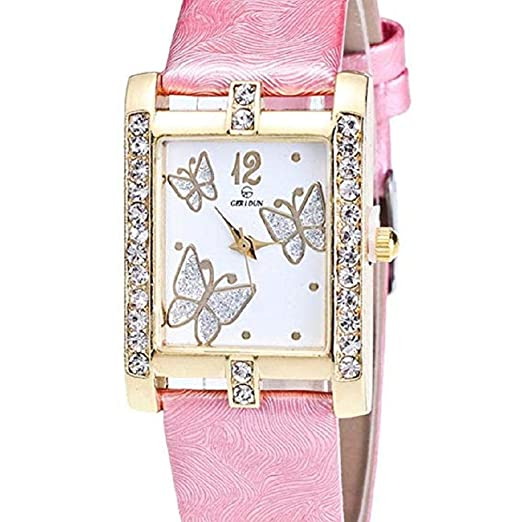 Noopvan Butterfly Watches for Women,Crystal Analog Lady Watches Female Watches on Sale Wrist Watches for Women Rectangle Leather Watch-A136 (Purple): Home ...