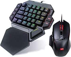 RGB One Handed Gaming Keyboard and Mouse Combo, Mechanical Wired 35 Keys Blue Switch Macro Definition with Wrist Support, USB Backlit Professional Gaming Mouse, Suitable for Games