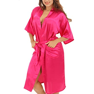 d9c899f03c FY Women Unisex Couple Kimono Cardigan Bathrobe Satin Silk Long Robes  Dressing Gown Solid Color Nightdress