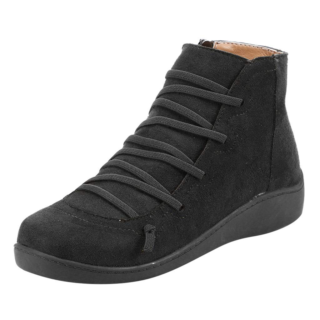 Women's Casual Arch Support Flat Short Ankle Boots Winter Retro Flock Lace-up Side Zipper Round Toe Shoes Boots Booties (US:6-6.5, Black) by Aritone - Women Shoes