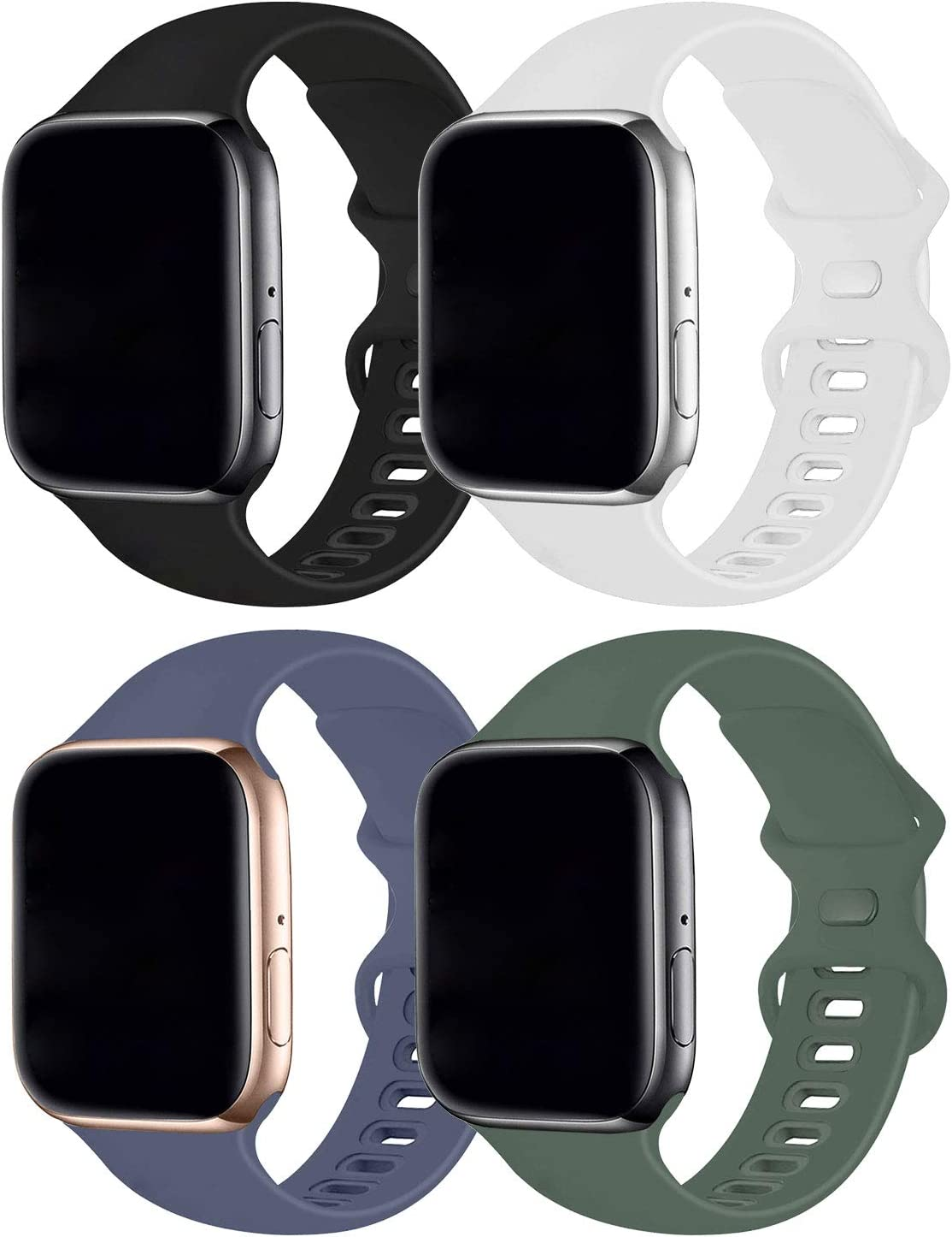 Hotflow 4 Pack Compatible with Apple Watch Band 42mm 44mm,Sport Silicone Soft Replacement Band Compatible for Apple Watch Series SE/6/5/4/3/2/1 [S/M Size - Black/Pine Green/White/Lavender Gray]