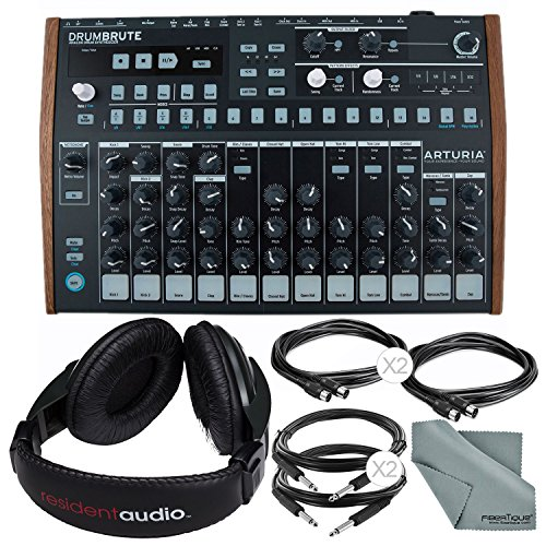 Arturia DrumBrute Analog Drum Machine and Accessory Bundle w/Stereo Headphones + Cables + Fibertique ()