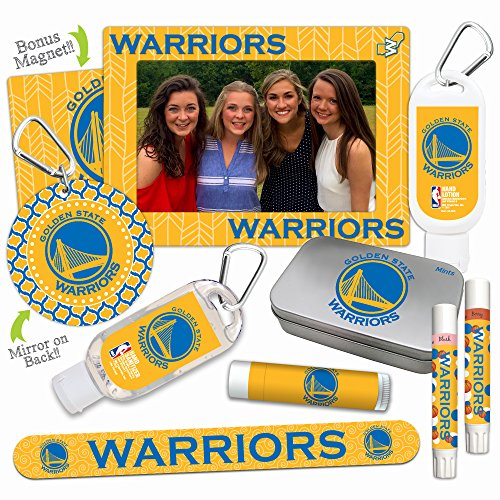 - NBA Golden State Warriors Platinum Variety Set- with 2 Lip Shimmers, Lip Balm, Nail File, Mirror, Sanitizer, Lotion, Mint Tin, Magnetic Picture Frame. NBA Basketball Gifts for Women, Mother's Day.