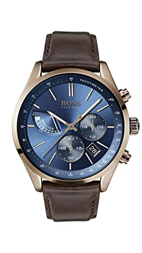dfc798235 Hugo Boss Watch Mens Chronograph Quartz Watch with Leather Strap 1513604