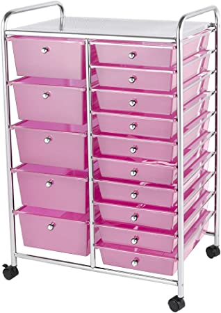 Home Treats Storage Trolley On Wheels Pink 15 Drawer Storage Unit For Salon Beauty Make Up Home Office Organiser 15 Drawer Pink Amazon Co Uk Kitchen Home