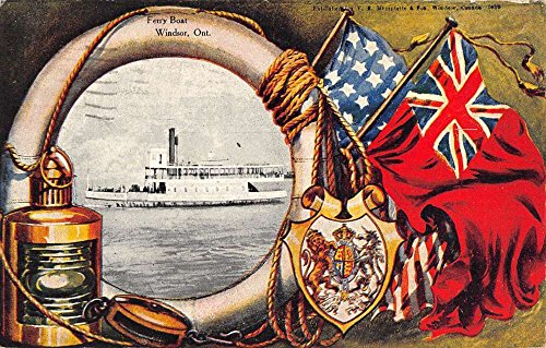 Windsor Ontario Canada Ferry Boat Patriotic Flags Antique Postcard K72776