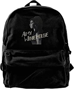 Amy Winehouse Outdoor Hiking Canvas Rucksack College Bookbag 15.6in Laptop Backpack