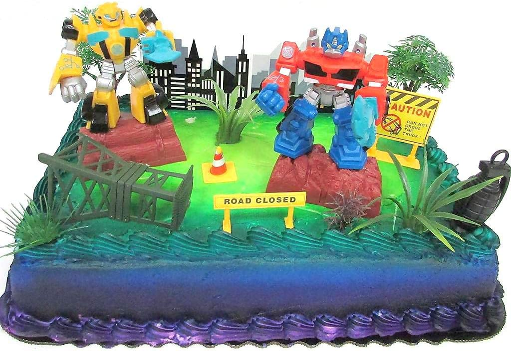 Fabulous Amazon Com Transformers 10 Piece Birthday Cake Topper Set Funny Birthday Cards Online Elaedamsfinfo
