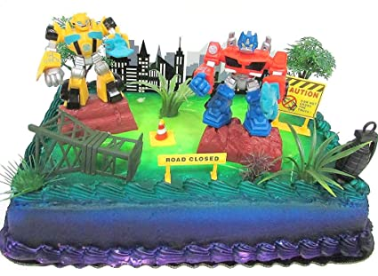 Transformers 10 Piece Birthday Cake Topper Set Featuring Bumblebee And Optimus Prime Figures With Themed Decorative Accessories