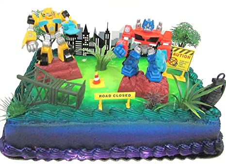 Transformers 10 Piece Birthday Cake Topper Set Featuring Bumblebee And Optimus Prime Figures With Themed Decorative