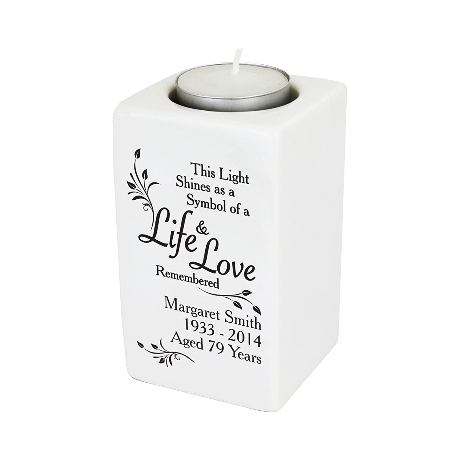 Loving Memory Ceramic Tea Light Candle Holder. This is a great product that can be personalised to your requirements ( please see main discription for full details ) Ideal gifts and presents for weddings, Christenings, Birthdays, Christmas etc… Christmas