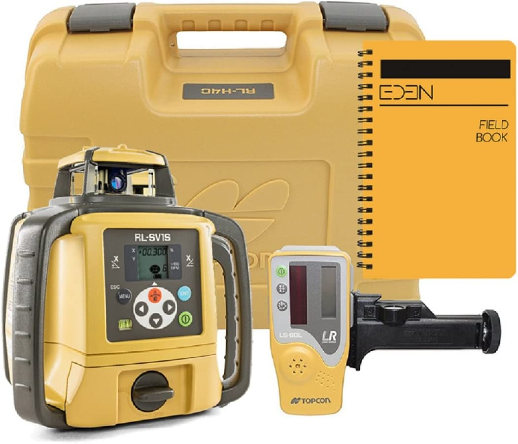 Topcon RL-SV1S Self Leveling Single Slope Rotary Laser, BONUS EDEN field book IP66 Rating Drop, Dust, Water Resistant 800m Construction Laser Includes LS-80L Receiver, RC-50 Remote, Detector Holder