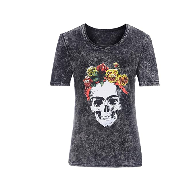 Camiseta con Estampado Floral de Calavera Mujer O Cuello Camiseta de algodón de Manga Corta Camisetas
