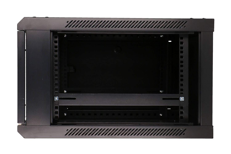 600x600mm Schwarz Wandschrank Extralink 6 HE 6U 19 Netzwerkschrank mit Glast/ür Serverschrank BxT
