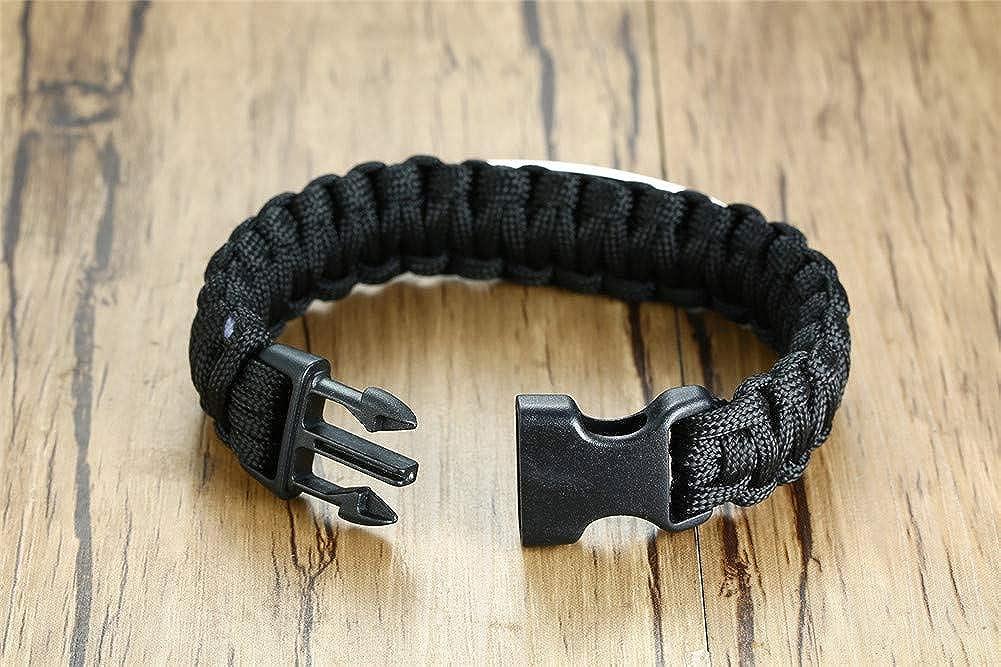 Sunling Engravable ID Bracelet for Men Love Quotes Paracord Bracelet Inspirational Gift for Him Boyfriend,9 Inches