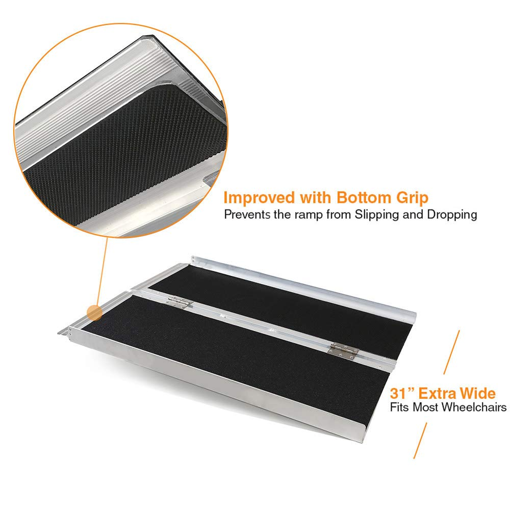 Clevr 3' (36'' X 31'') Non-Skid Aluminum Wheelchair Loading Traction Ramp, Lightweight Folding Portable, Single Fold Wheelchair Scooter Ramp, Extra Wide 31'', Holds up to 600 lbs by Clevr (Image #3)