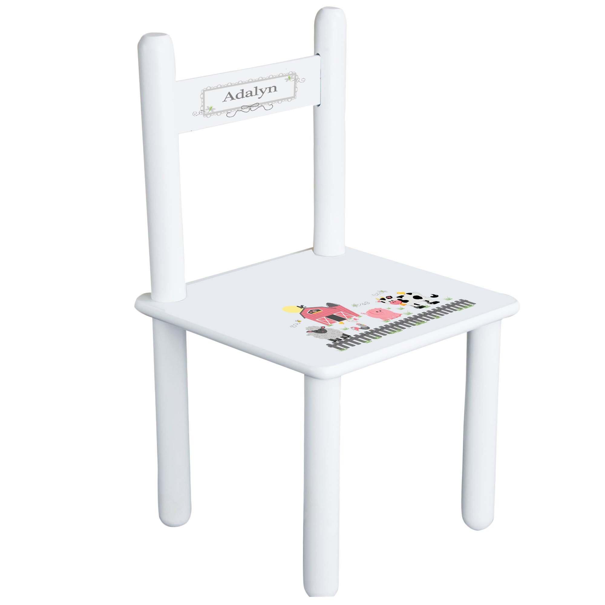 MyBambino Personalized Pastel Barnyard Theme Childrens Chair
