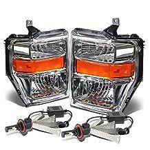 Ford Super Duty OE Style Headlight Amber Reflector (Chrome Housing) - 2 Gen F-250/F-350/F-450/F-550 + 6000K White LED