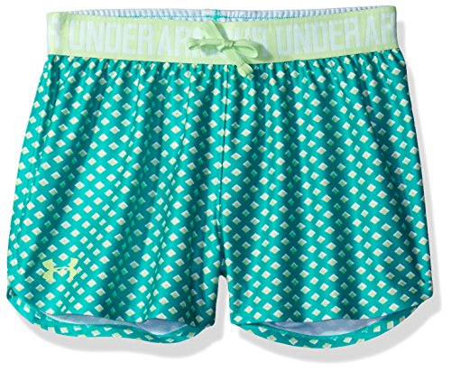 Under Armour Girls Play Up Printed Shorts, Absinthe Green /Summer Lime, Youth Medium