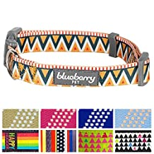 """Blueberry Pet Elite Basic Dog Collar with Flame Stitch and Henley Stripes, Neck 18""""-26"""", Large, Adjustable Collars for Dogs"""