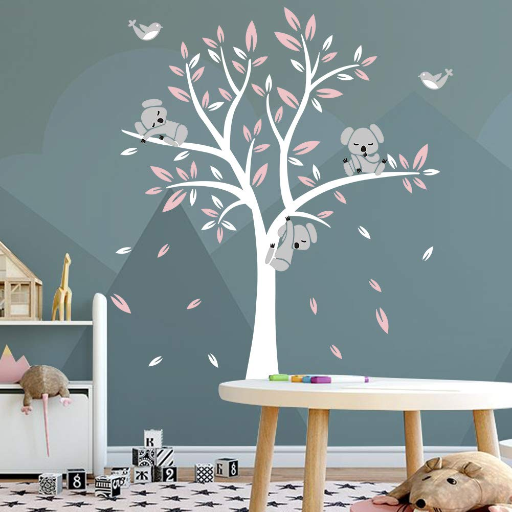 Tree Wall Decal for Living Room Children Kids Nursery Wall Decoration Removable Vinyl Wall Sticker Art Home Decoration 104x71,Green+White