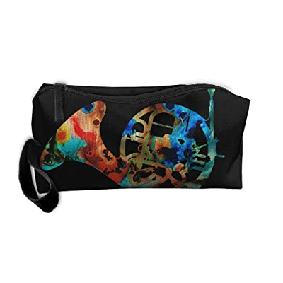 96dfc6229393 French Horn Colorful Music Art Tie-dye Multifunction Portable Make-up Mini  Bag Makeup