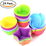 Wisdompark 24 Pack Silicone Cupcake Liners 2.75 ×1.57 × 1.18 inches, Nonstick/Heat Resistant/Reusable Silicone Muffin Baking Cups Silicone Jelly Molds