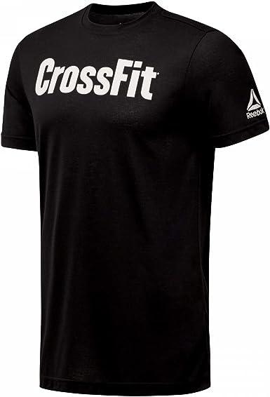 Reebok Mens CrossFit FEF Training Gym Fitness T Shirt Tee Top Black Sports