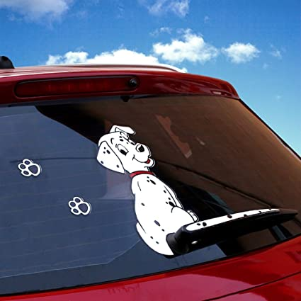 Vylymuses car rear window decalsrylybons funny car auto body sticker dog moving tail