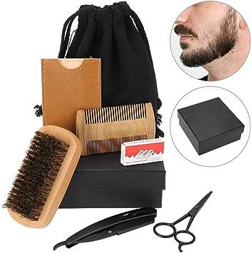 Neceser de cuidado de la barba de 6 piezas, tijeras, maquinilla de ...