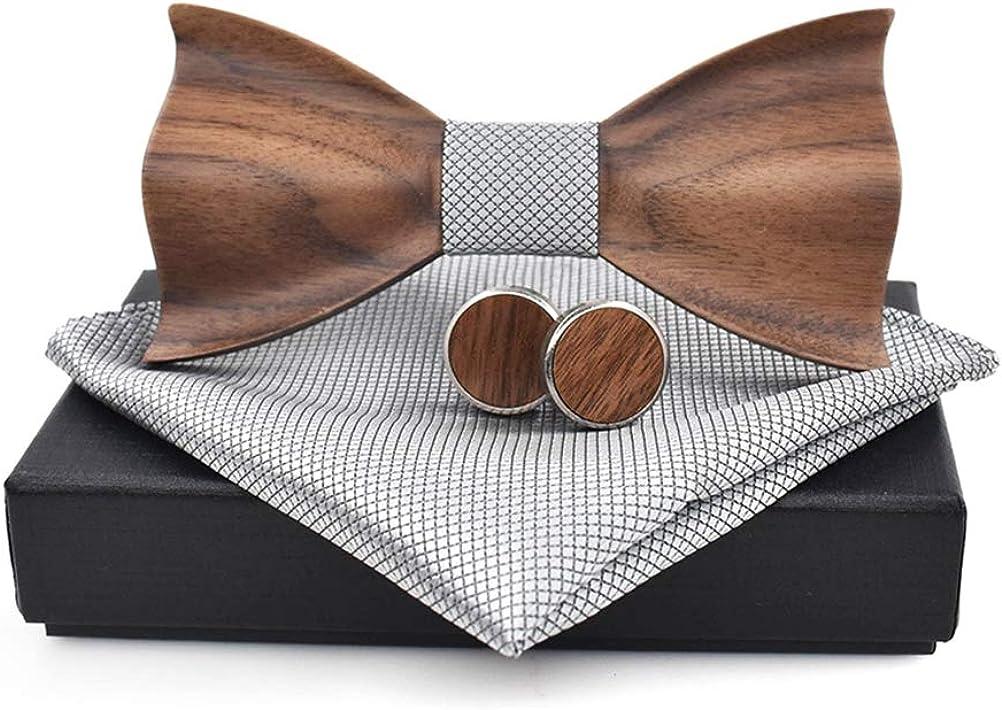 Handmade Wooden Bow Tie Handkerchief Cufflink Kit Wedding Men Gentleman Bowties