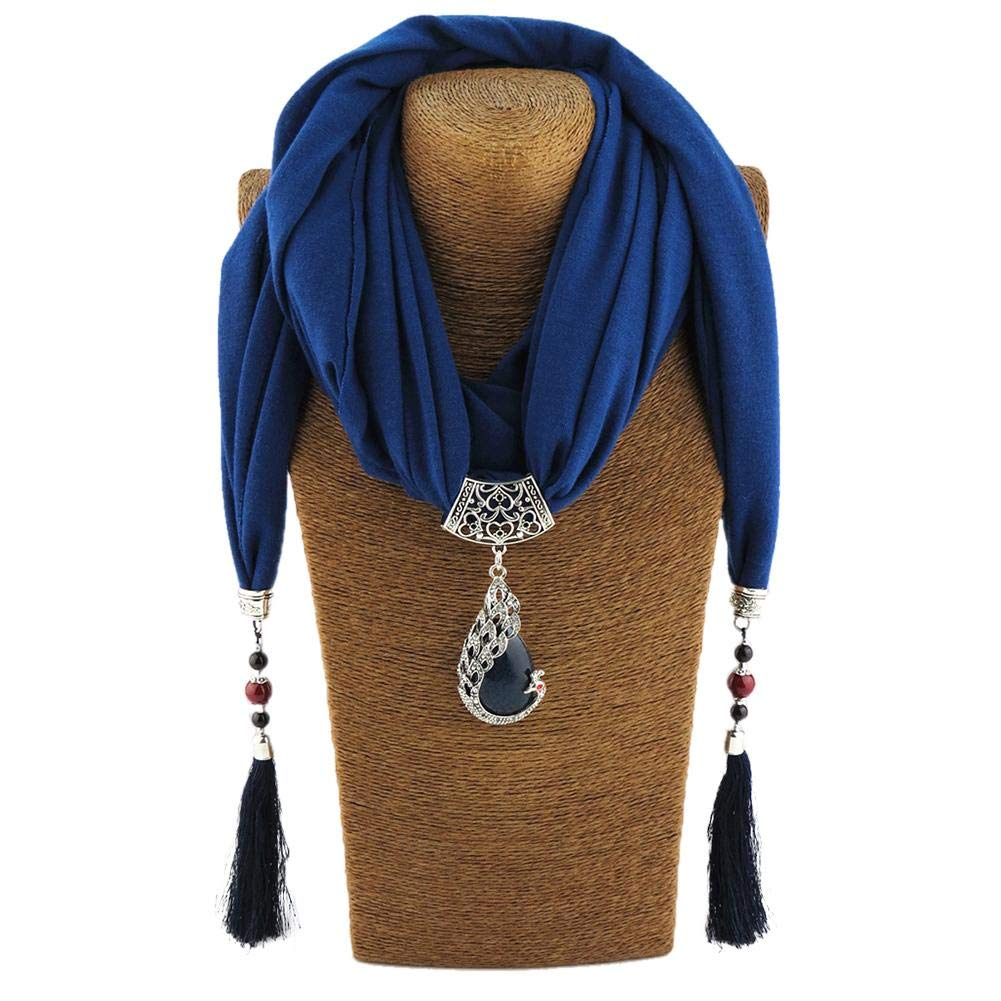 Womens Scarf Vintage Resin Little Rhinestone Pendant Shawl Necklace Scarfs,Classic Pendant Scarf Circular Polyester Solid Scarf,Shawl Infinity Tassel Jewelry Scarf