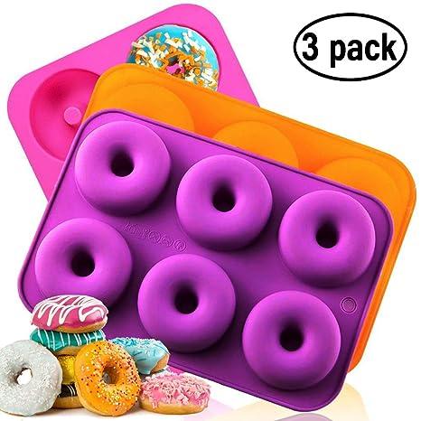 Amazon.com: Molde de silicona para donut, antiadherente, 3 ...