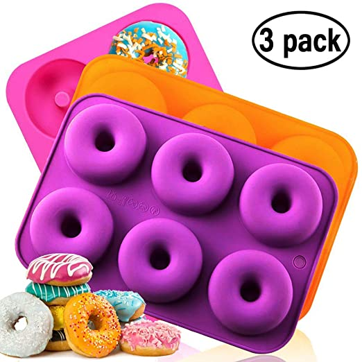 Molde de silicona antiadherente para donas de Amison, apto para lavavajillas, horno, microondas, congelador, sin BPA, tamaño completo, 3 unidades