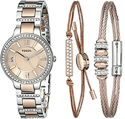 Fossil Women's ES3697SET Virginia Three-Hand Stainless Steel Watch with Bracelet Set