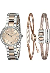 Fossil Women's ES3697SET Virginia Three-Hand Stainless Steel Watch with Bracelet Set