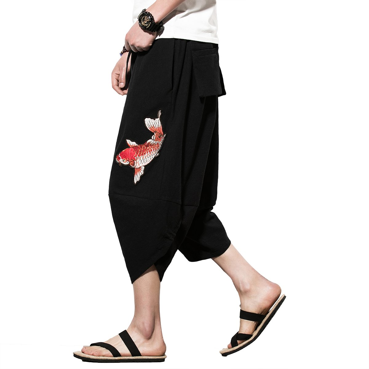 Mirecoo Men's Summer Boho Hippie Wide Leg Cotton Baggy Harem Pants Trousers with Pockets