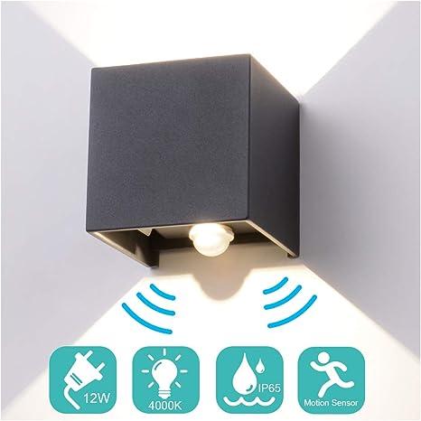 12W LED Außenleuchte mit Bewegungsmelder Gartenlampe Wandleuchte Außen Wandlampe