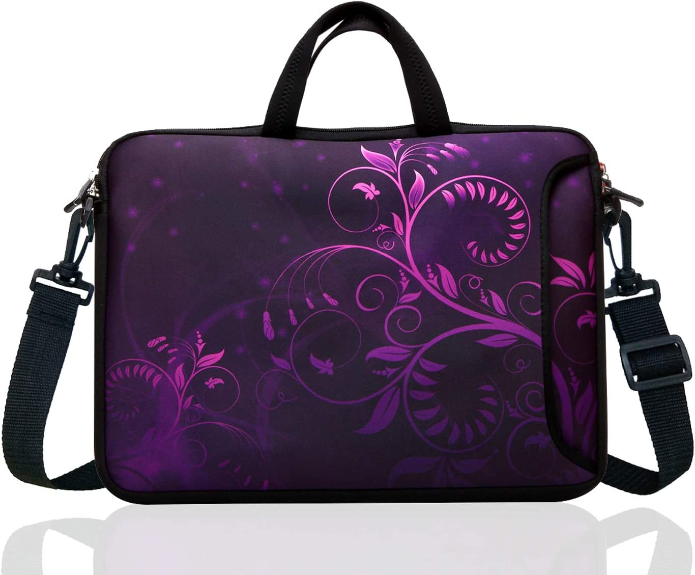 "17-Inch to 17.3-Inch Neoprene Laptop Shoulder Messenger Bag Case Sleeve For 16 16.5 17 17.3"" Inch Acer/Asus/Dell/Lenovo/HP/Macbook (Purple Flower)"
