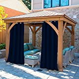 gazebo curtains with velcro Privacy Outdoor Single Window Curtain Panel 50x84-Inch for Porch Patio -homestuf Window Treatment Nickel Grommets Blackout UV Ray Protected Waterproof Indoor Outdoor Curtain/Drape
