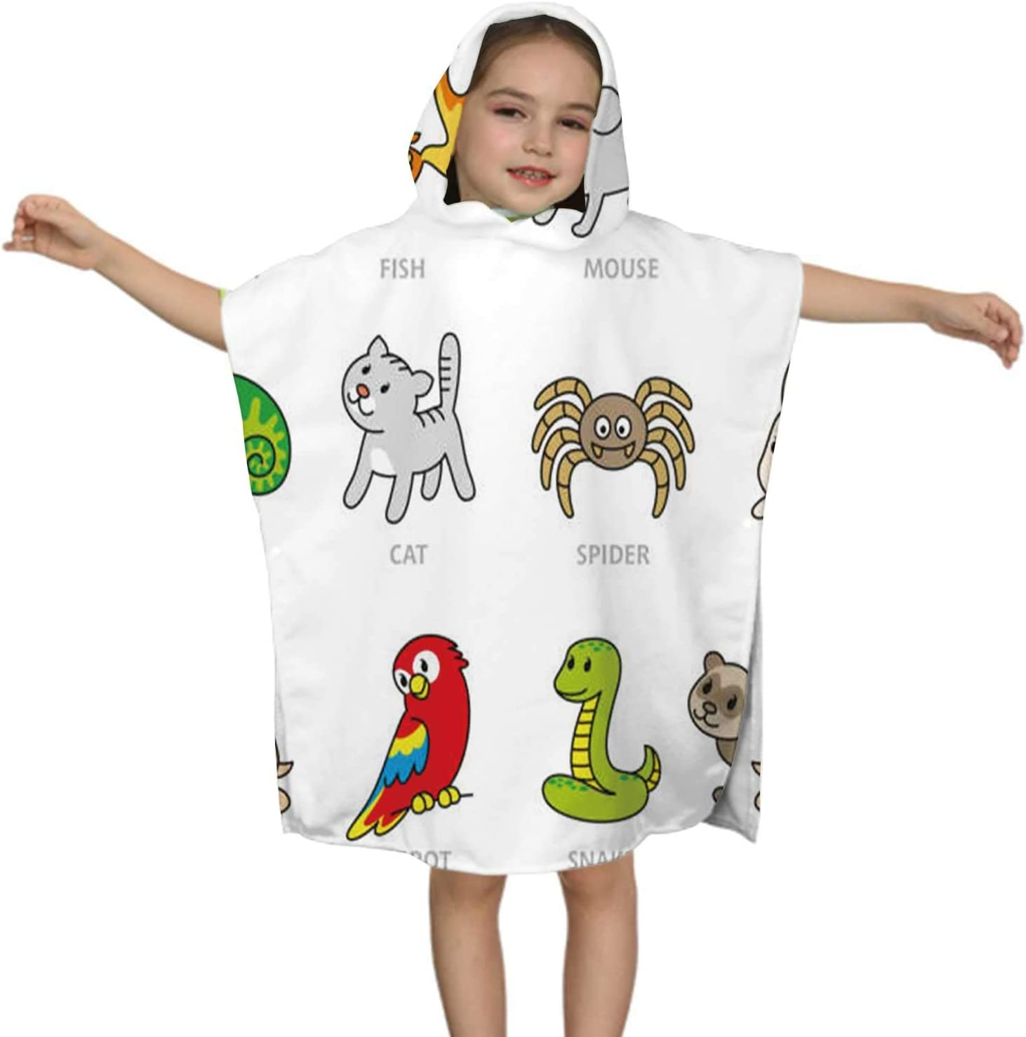C COABALLA Pet Shop,Kids Hooded Beach Towel Unisex Ages 2-7 Boy Quick Dry -100% Microfiber Set Types of Pets Animal