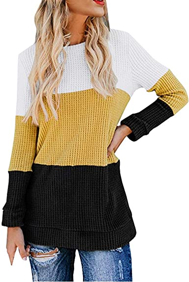 VEMOW Camisetas Mujer Casual Manga Larga Bloque de Color Camisas Tejer Térmico Pullover Suéter Blusa Tops Camisa OtoñO Invierno: Amazon.es: Ropa y accesorios
