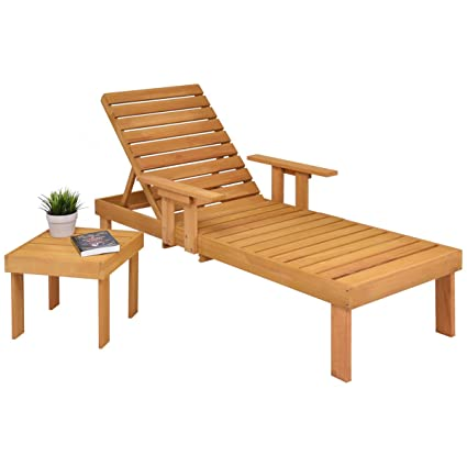 Tremendous Amazon Com Patio Chaise Wood Sun Lounger Bench Side Tray Bralicious Painted Fabric Chair Ideas Braliciousco