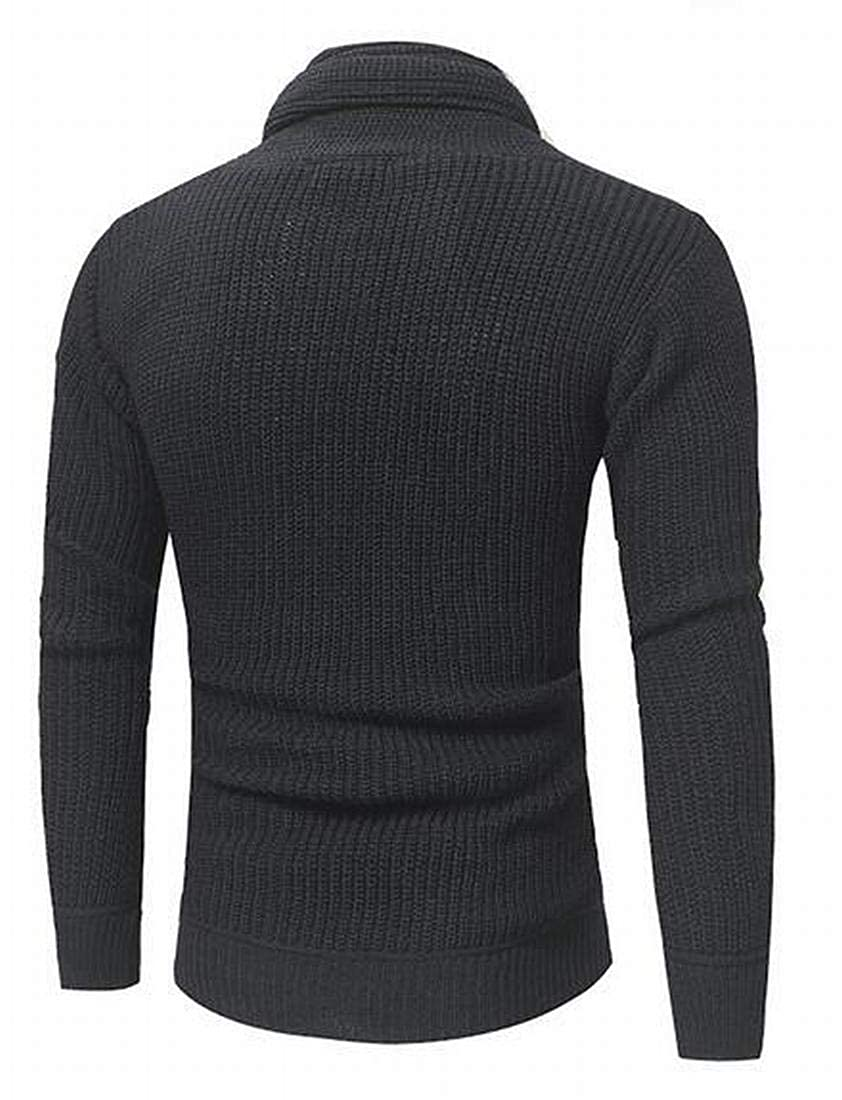 SHOWNO Mens Heap Collar Long Sleeve Knitted Slim Fit Solid Color Pullover Sweater Jumper