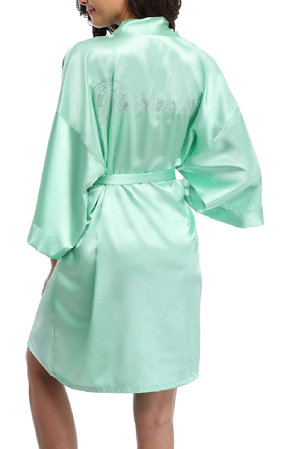 Light Green(bridesmaid) FADSHOW Bridal Robes Wedding Dressing Gowns with Rhinestones for Bride and Bridesmaids