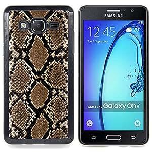 "Qstar Arte & diseño plástico duro Fundas Cover Cubre Hard Case Cover para Samsung Galaxy On5 O5 (Patrón Serpiente Wallpaper Arte Marrón Negro"")"