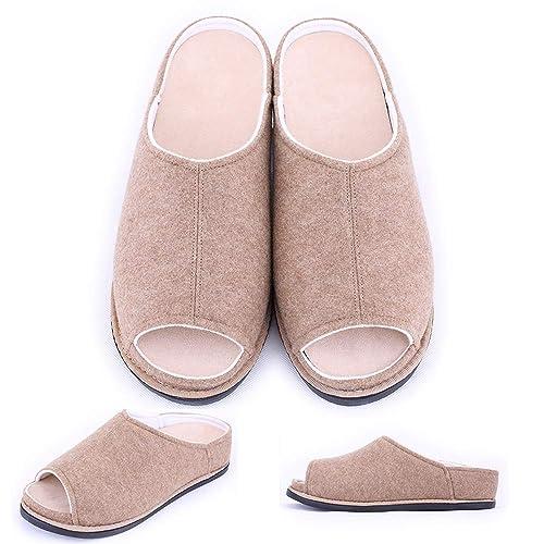 a489d1484e3d0 Mei MACLEOD Women's Extra Wide Width Peep Toe Edema Swollen Feet Diabetic  Slippers Orthopetic Sandals