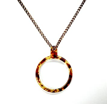 8d36f5d82d291 Elegant Amber/antique Style Magnifying Glass Necklace/pendant- 3x  Magnification with 30